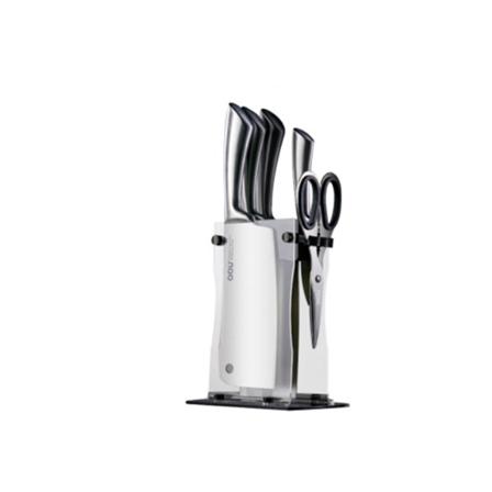 OOU厨房不锈钢刀具六件套装 (万用刀+厨师刀+菜刀+砍骨刀+剪刀+亚克力刀座 )包邮