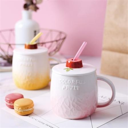 创意水果大肚陶瓷马克杯大容量陶瓷水果杯带吸管礼品杯